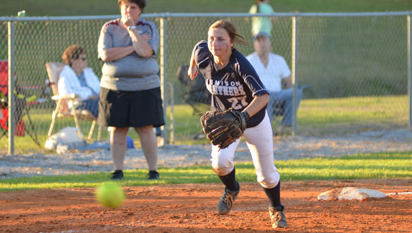 Jemison's Charlsie Murphy charges a bunt attempt in a contest against Thorsby in the Chilton County Softball Tournament.