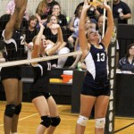Set it up: Jemison's Hannah Northcutt attempts to set up a teammate for a kill. (Photo by Brandon Sumrall)