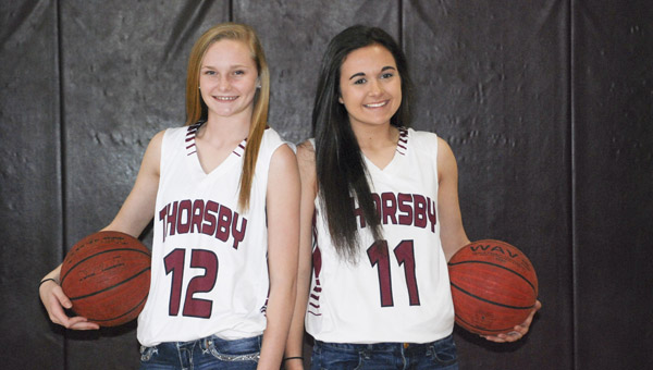 Adi Argent and Lilly Barnett of Thorsby have developed into quite a guard tandem that opponents must deal with when facing the Rebels. (Photo by Anthony Richards / Advertiser)